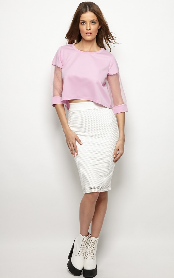 Rory Lilac Mesh Cropped Sweater  3
