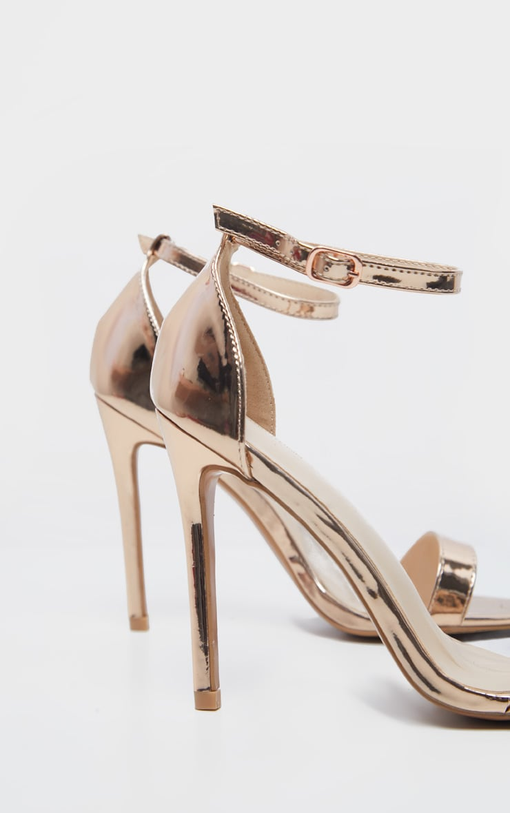 Clover Metallic Rose Gold Strap Heeled Sandal 4