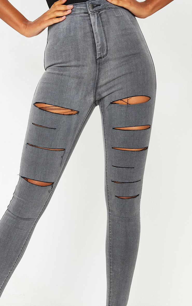 PRETTYLITTLETHING Washed Grey Rip Ripped Disco Skinny Jeans 4