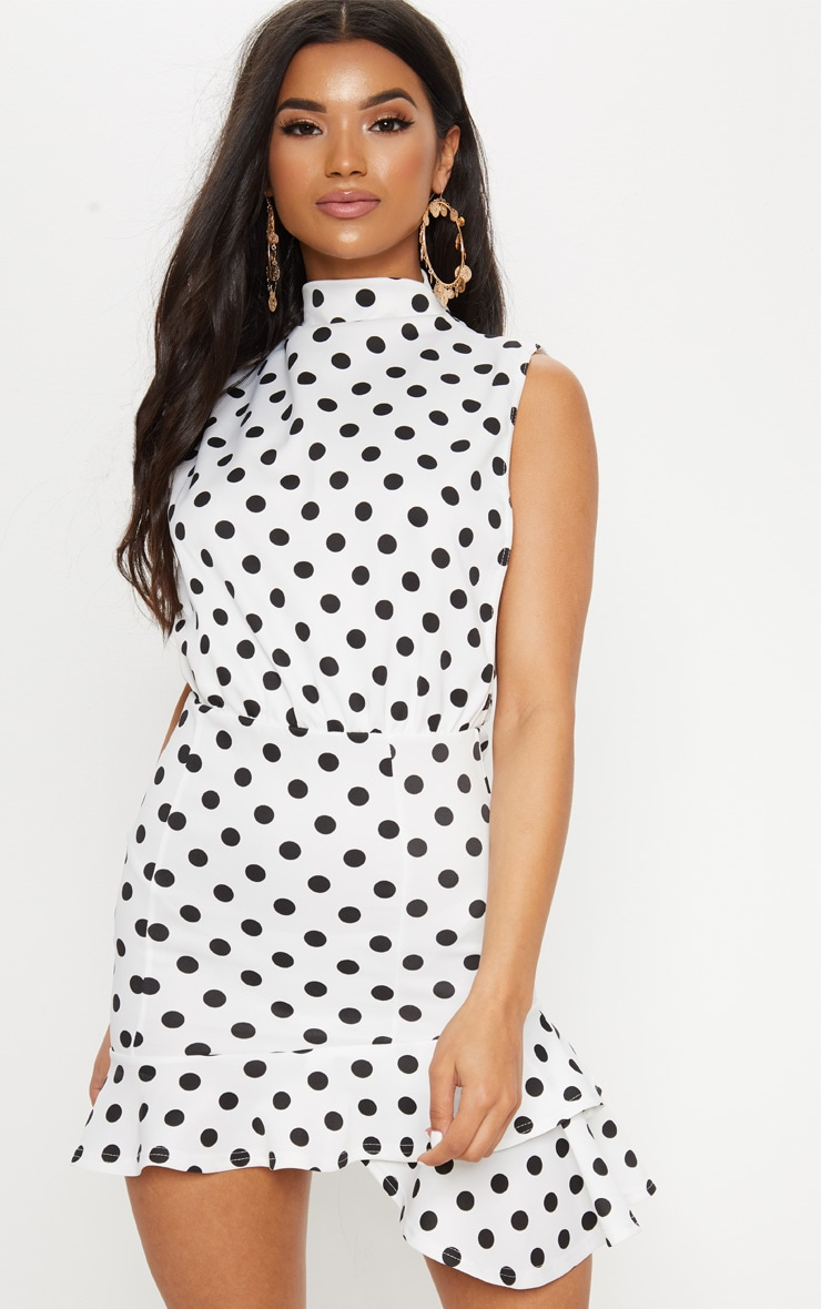 White Polka Dot High Neck Frill Hem Bodycon Dress 4