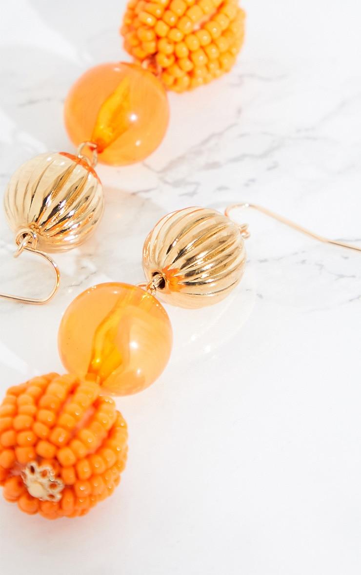 Orange Beaded Drop Earrings 4