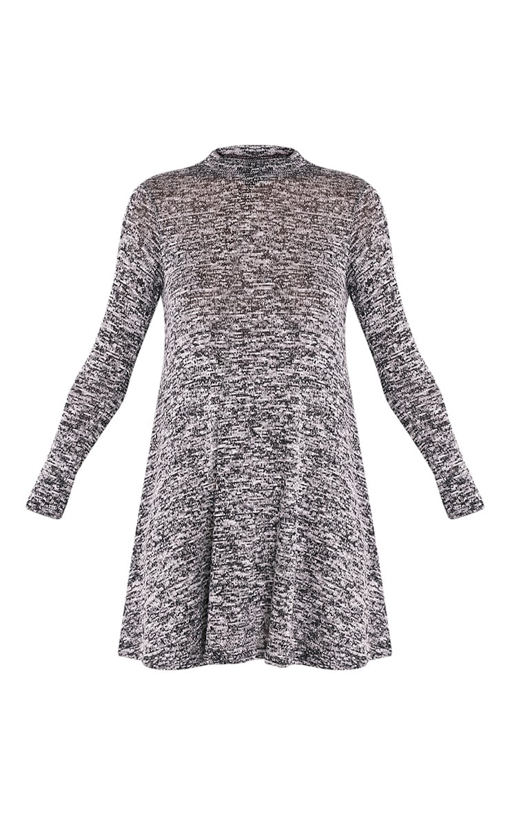 Annwyl Grey High Neck Long Sleeved Swing Dress 5