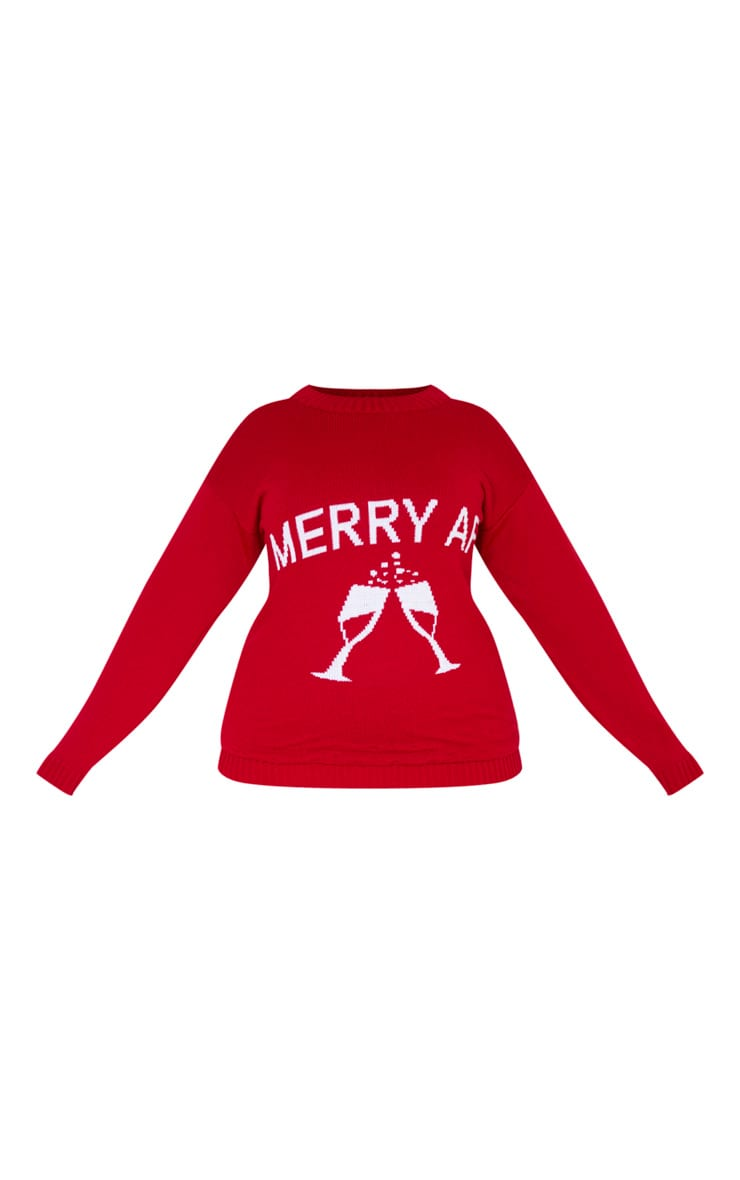 Plus Red Merry AF Christmas Slogan Jumper 3