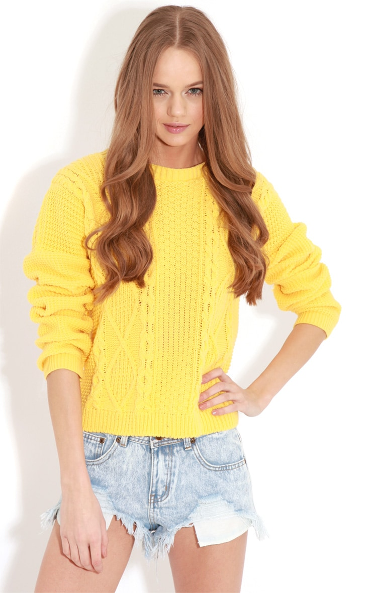 Alina Yellow Cable Knit Sweater  1