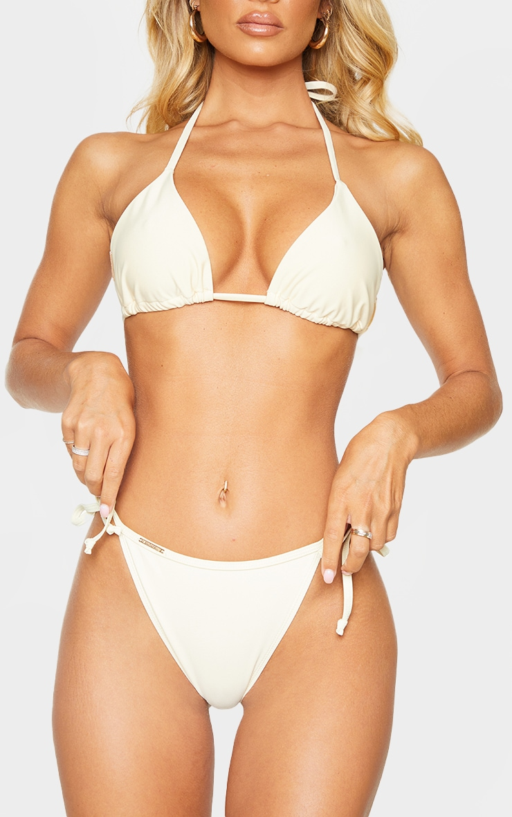 Cream Mix & Match Tie Side Bikini Bottom 1