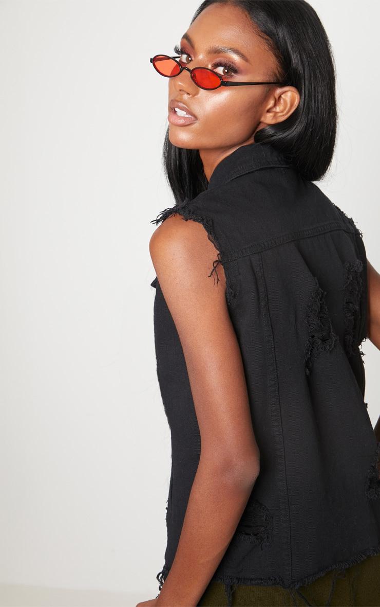 Black Sleeveless Denim Jacket 2
