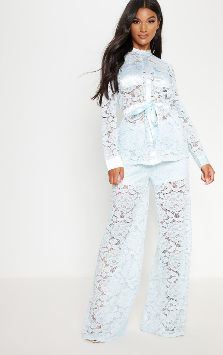 Baby Blue Lace Military Detail Tie Waist Shirt