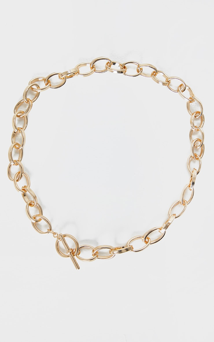 Gold Thick Hoop Chain Necklace 4