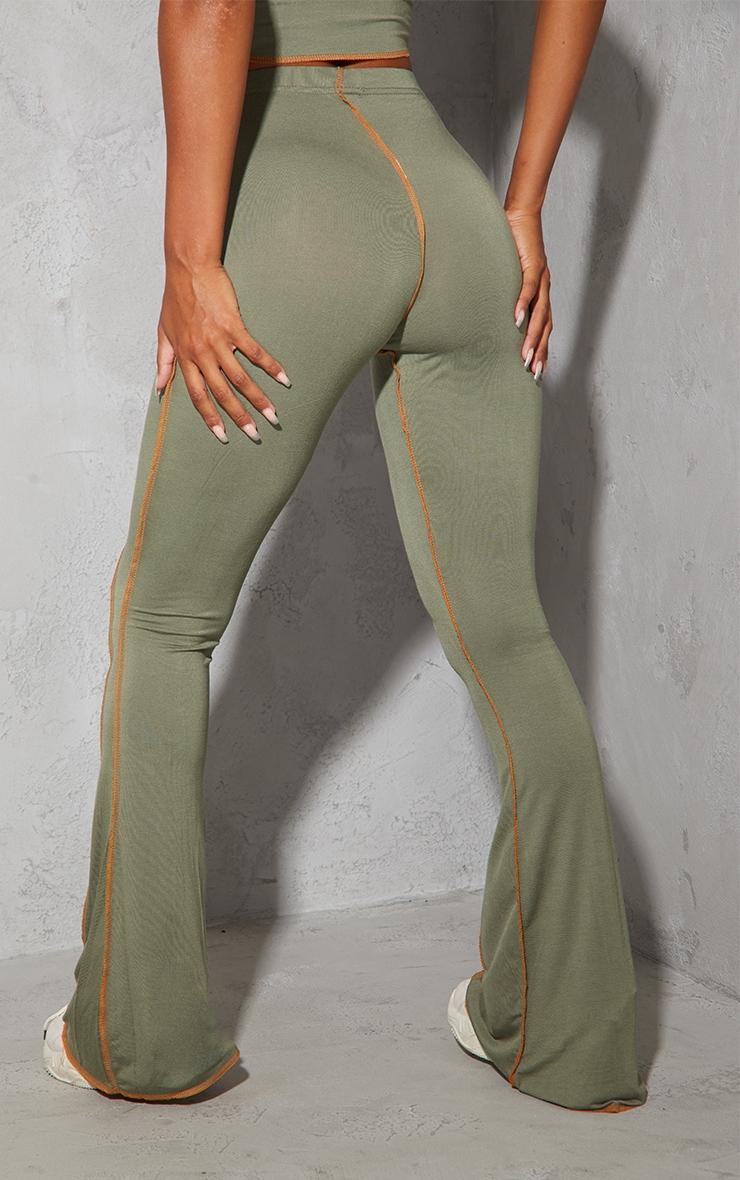Khaki Contrast Stitch Seam Flared Trousers 3