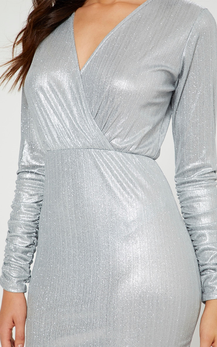 Silver Glitter Plunge Long Ruched Sleeve Bodycon Dress 4