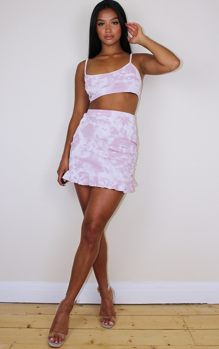 Petite Lilac Ribbed Tie Dye Frill Skirt 4