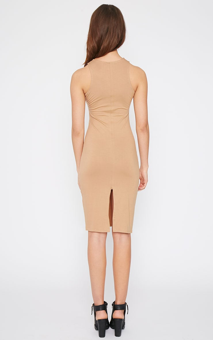Basic Camel Racer Neck Midi Dress 2