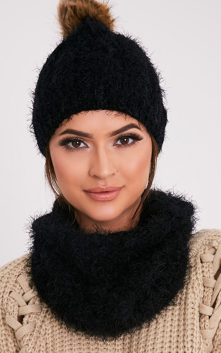 Two Pack Black Knitted Beanie and Snood 1