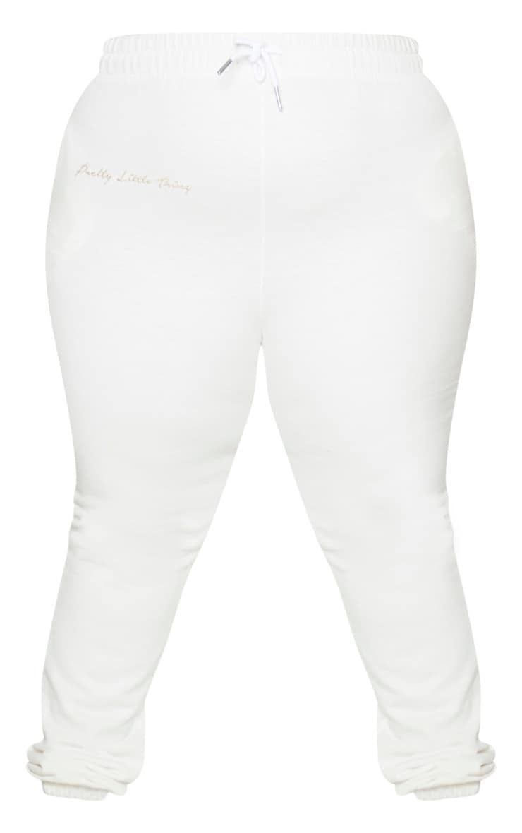 PRETTYLITTLETHING Plus Cream Drawstring Joggers 5