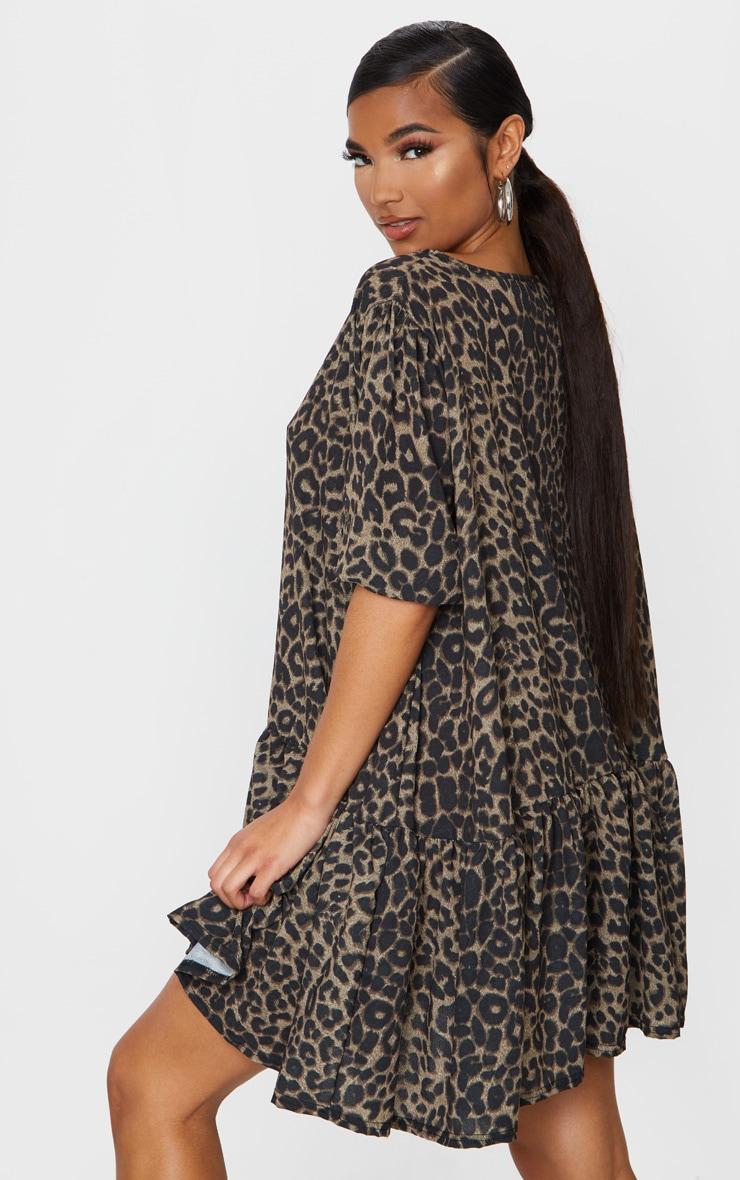 Brown Leopard Print Puff Sleeve Smock Dress 2