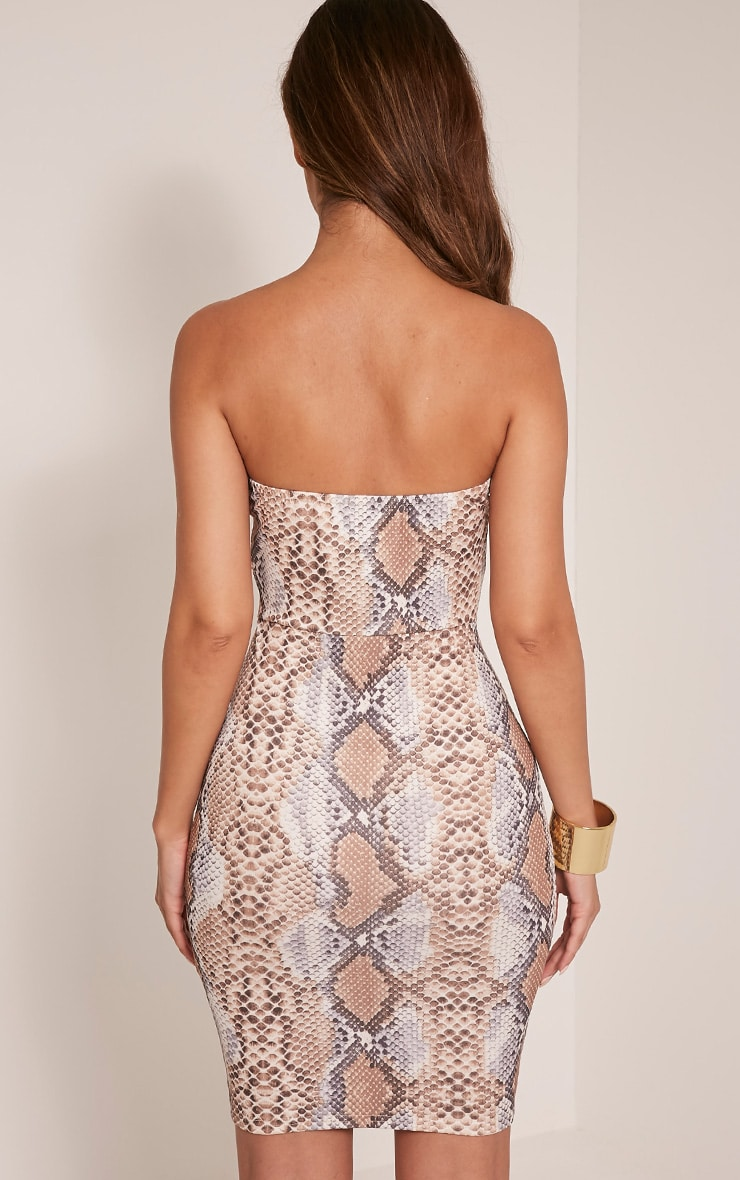 Michelle Taupe Snake Print Bandeau Dress 2