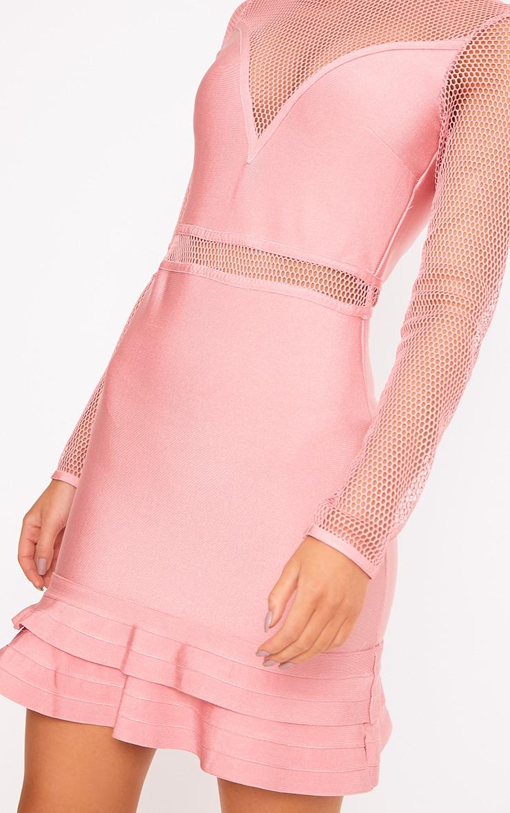 Rose Fishnet Frill Hem Bandage Bodycon Dress 5