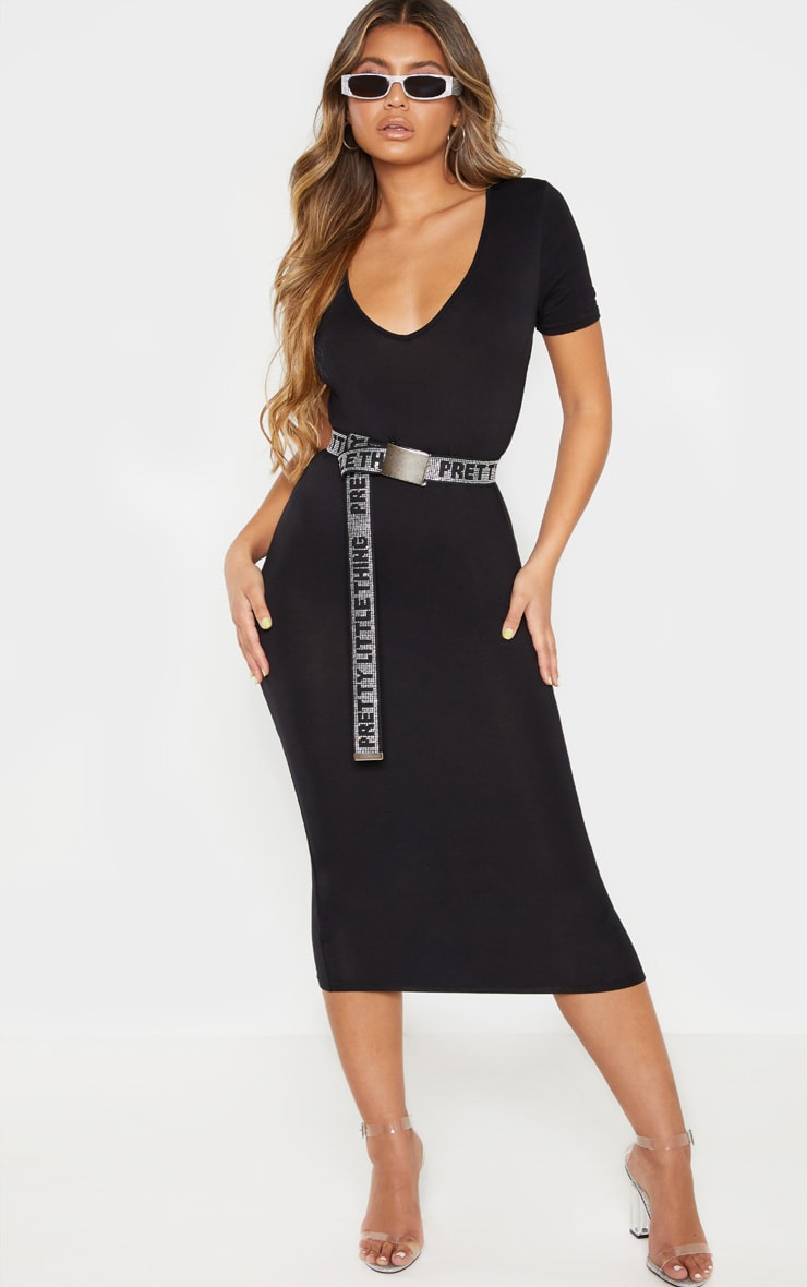 Black V Neck Midi Bodycon Dress 4