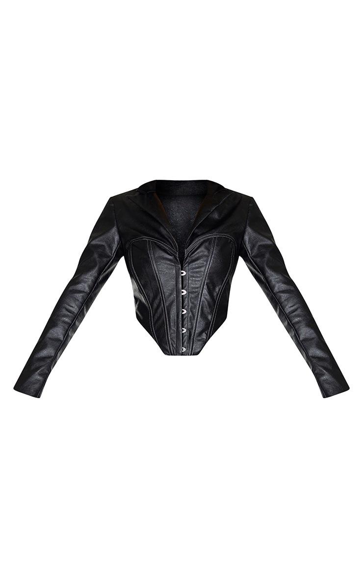 Veste en similicuir noir à partie style corset et ourlet pointu 5