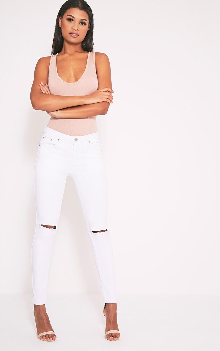 Kim jean slim blanc déchiré aux genoux 1