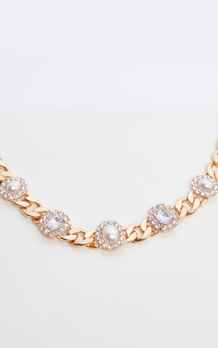 Gold Chain Pearl And Diamante Choker 3