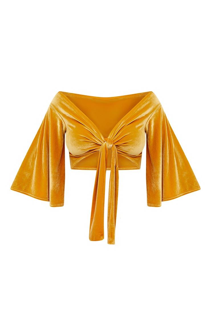 Mustard Velvet Tie Front Flare Sleeve Tie Front Crop Top 3