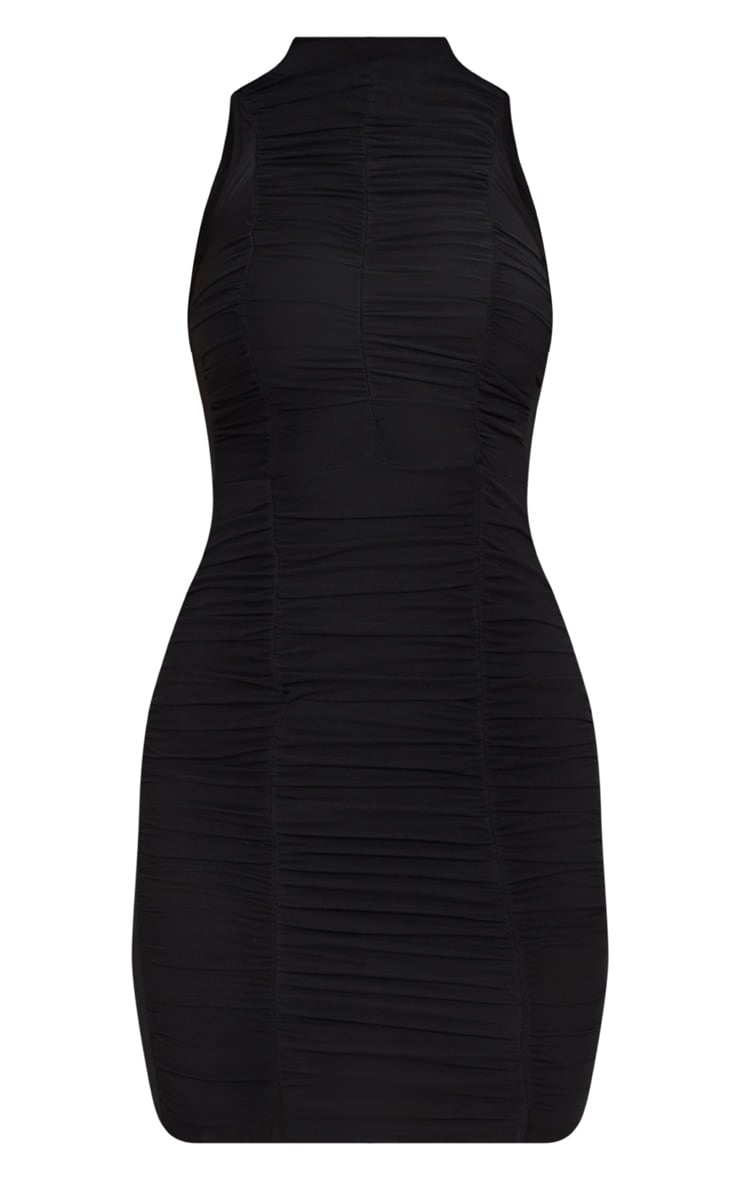 Black High Neck Ruched Detail Bodycon Dress 3