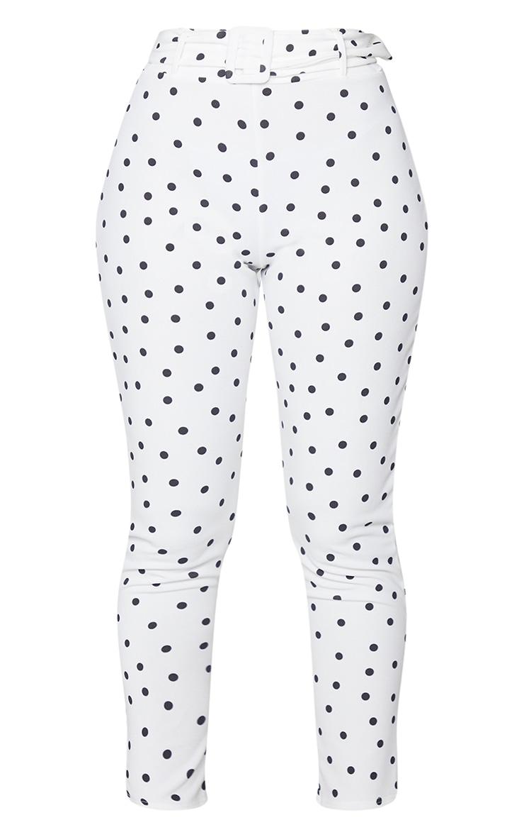 White Polka Dot Print High Waisted Belted Trouser 5