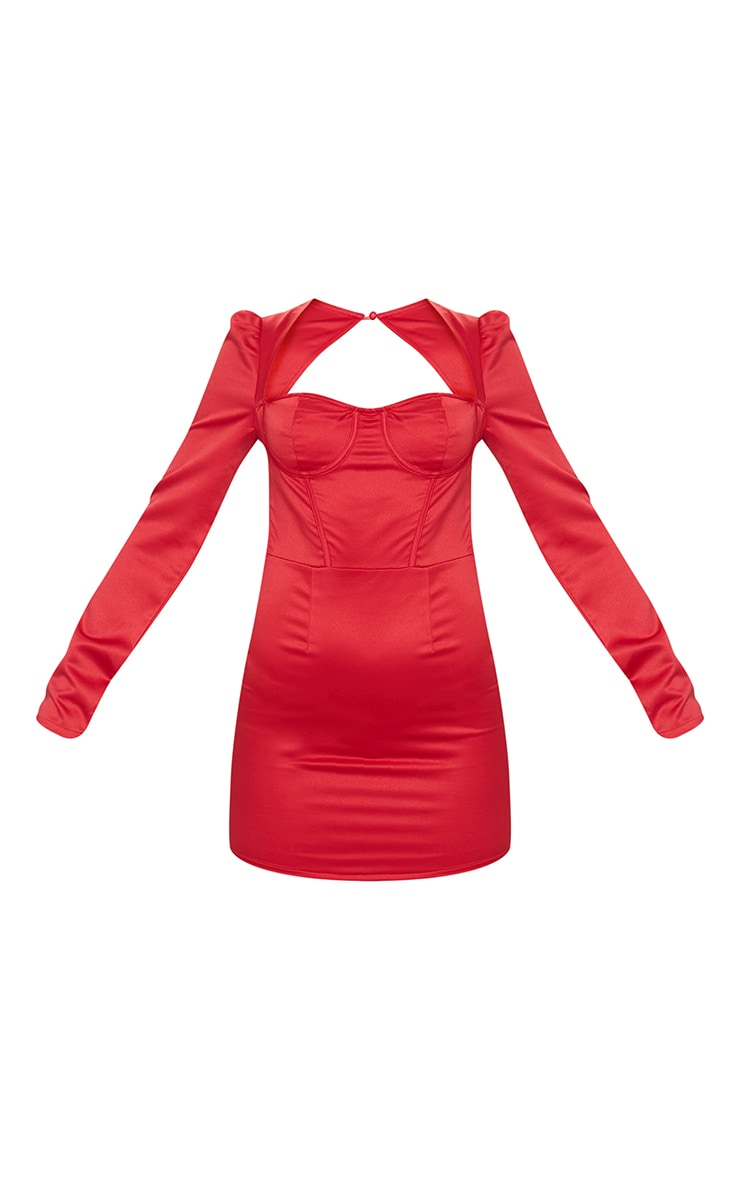 Red Long Sleeve Corset Detail Tie Back Bodycon Dress 5