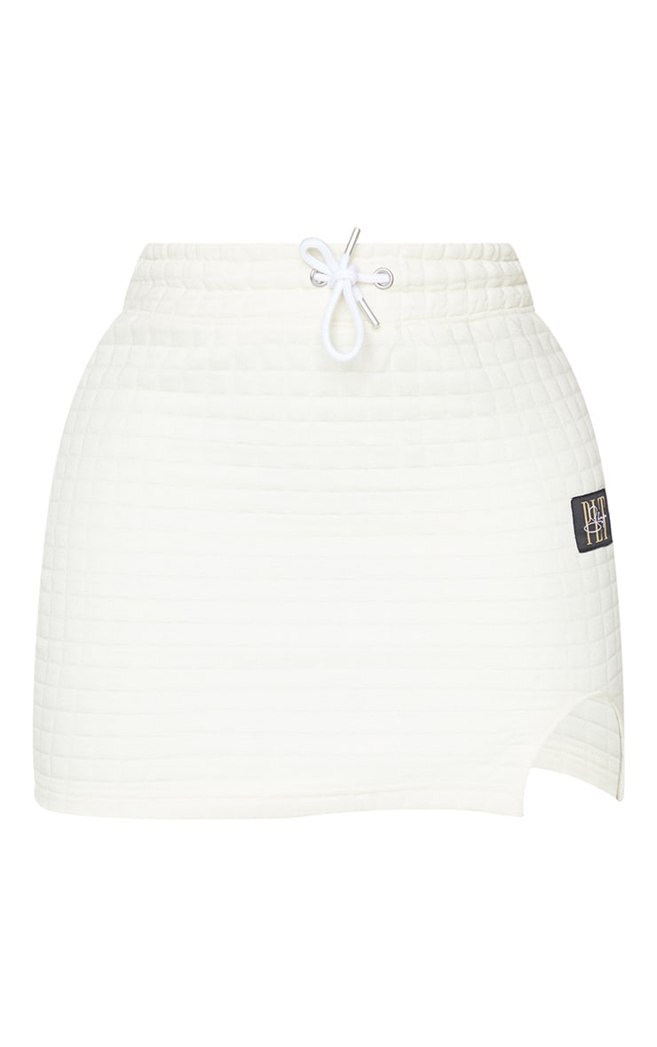 PRETTYLITTLETHING Shape Cream Quilted Drawstring Bodycon Skirt 6