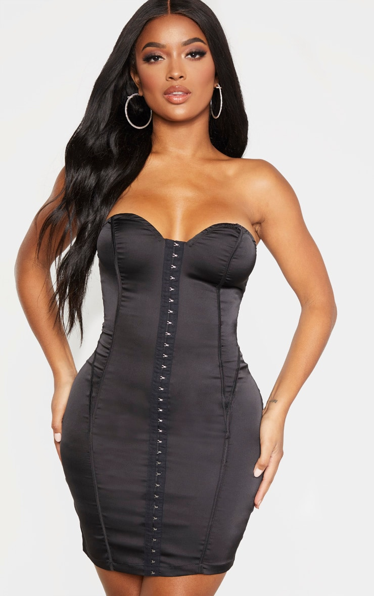 Shape Black Sweetheart Hook And Eye Bodycon Dress 1