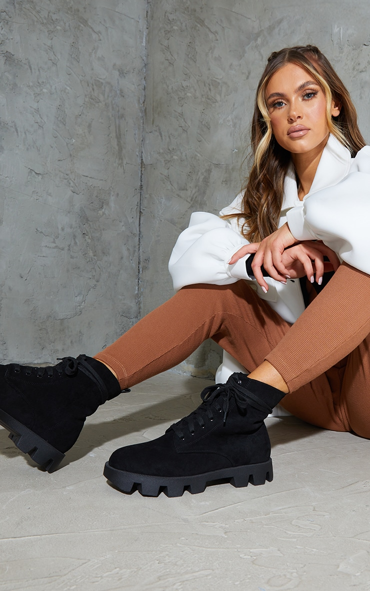 Black Suede Extreme Cleat Chunky Lace Up Ankle Boots 2
