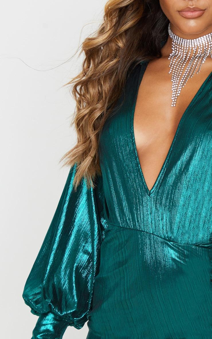 Green Metallic Ruched Deep Plunge Bodycon Dress 5