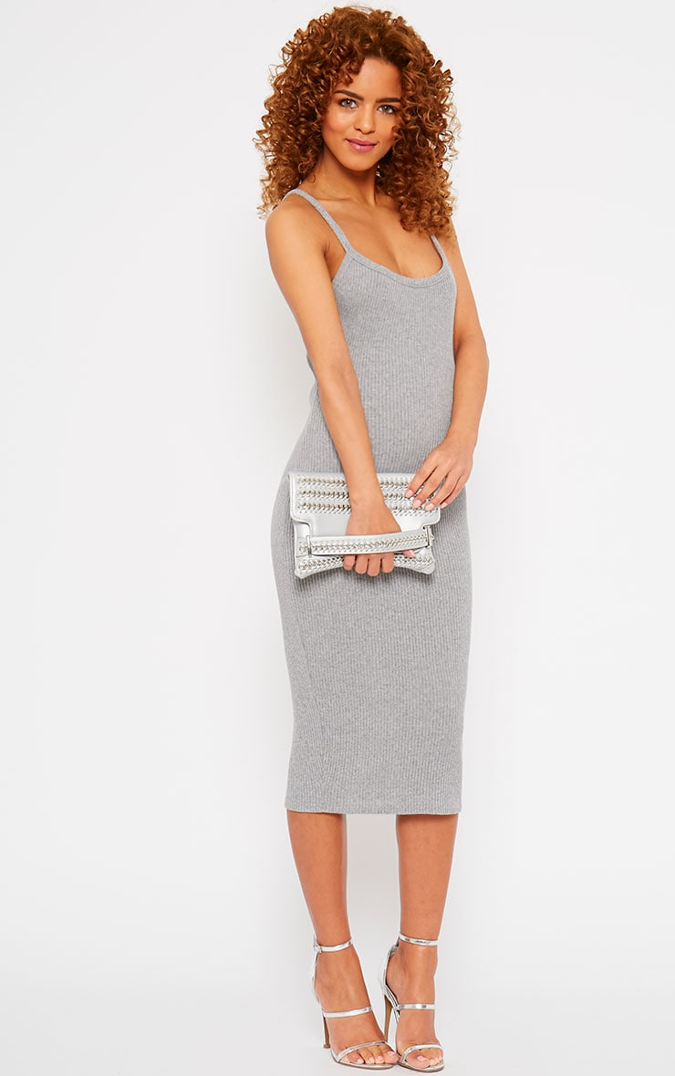 Tasmine Grey Ribbed Midi Dress 3