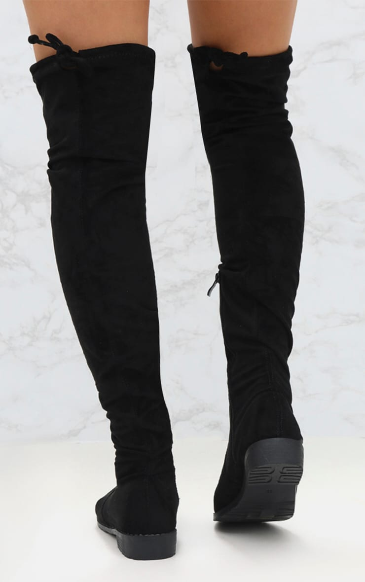Black Suede Flat Thigh High Boot 4