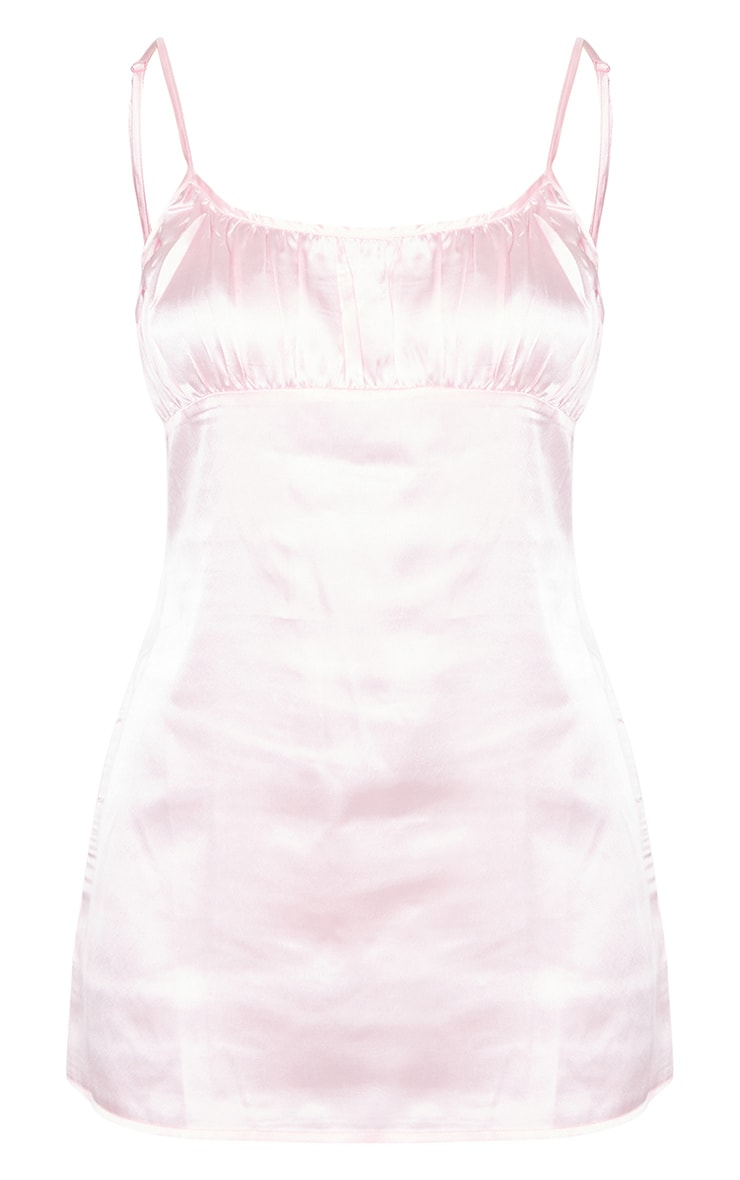 Baby Pink Ruched Bust Satin Nightie 5