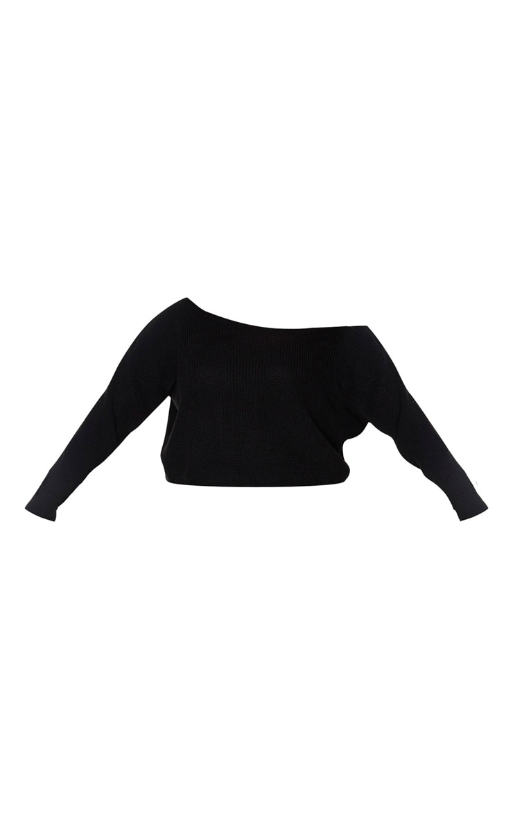 Plus Black Off the Shoulder Crop Knitted Sweater 3
