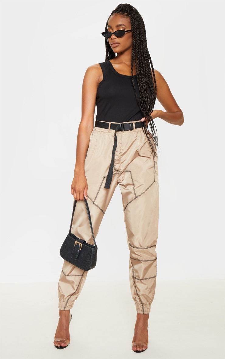 Stone Contrast Stitch Belted Shell Jogger 1