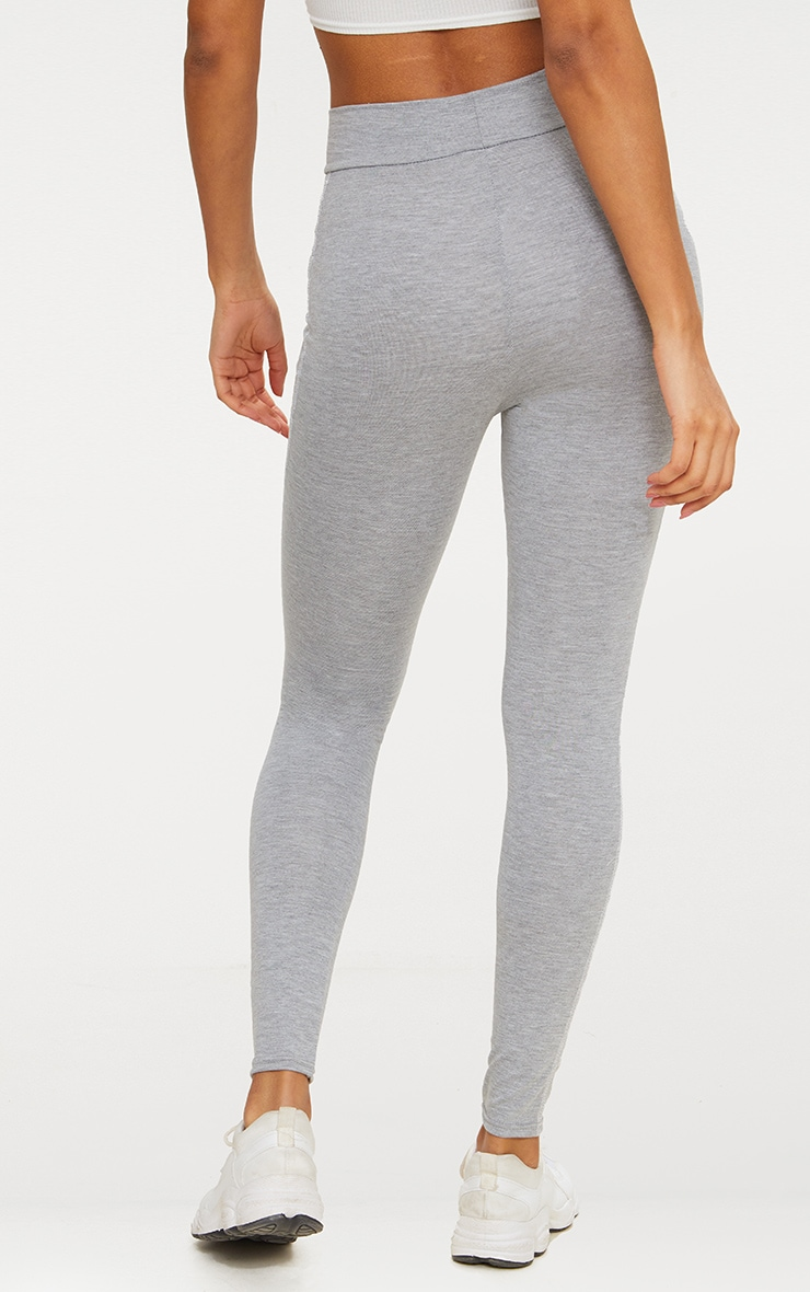 Grey Contrast Overlock Stitch Legging 3