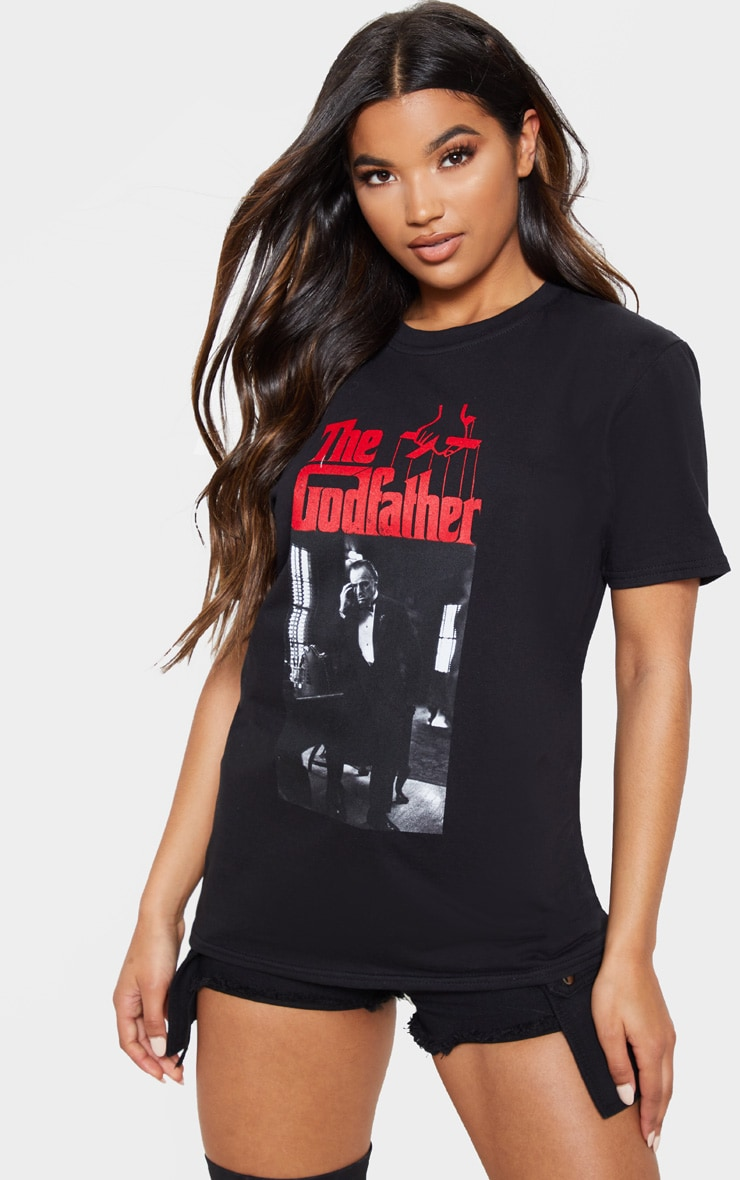 Black The Godfather Printed Oversized T Shirt 5