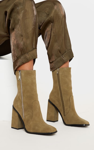 Olive Square Toe Chunky Block Heel Ankle Boot