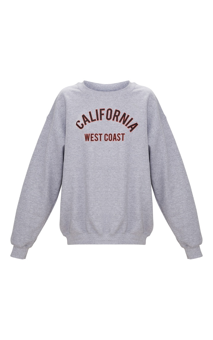 Grey Marl California Slogan Oversized Sweater  3