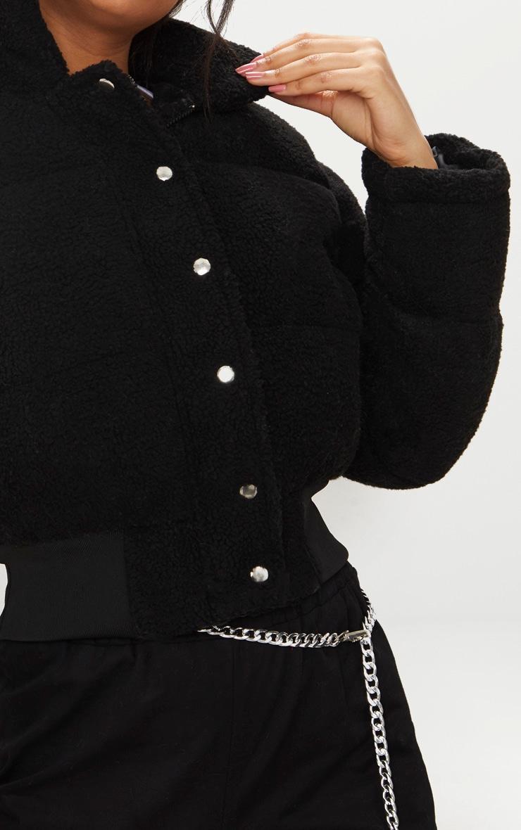Doudoune courte en imitation peau de mouton noire 5
