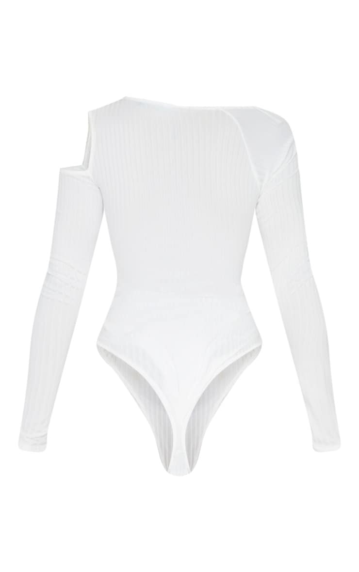 Cream Rib Cut Out Long Sleeve Bodysuit 3