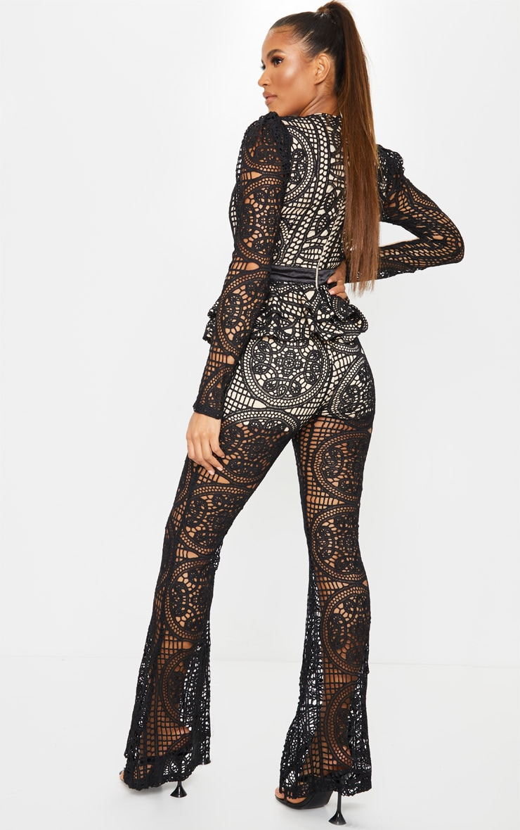 Black Lace Peplum Detail Long Sleeve Jumpsuit 2