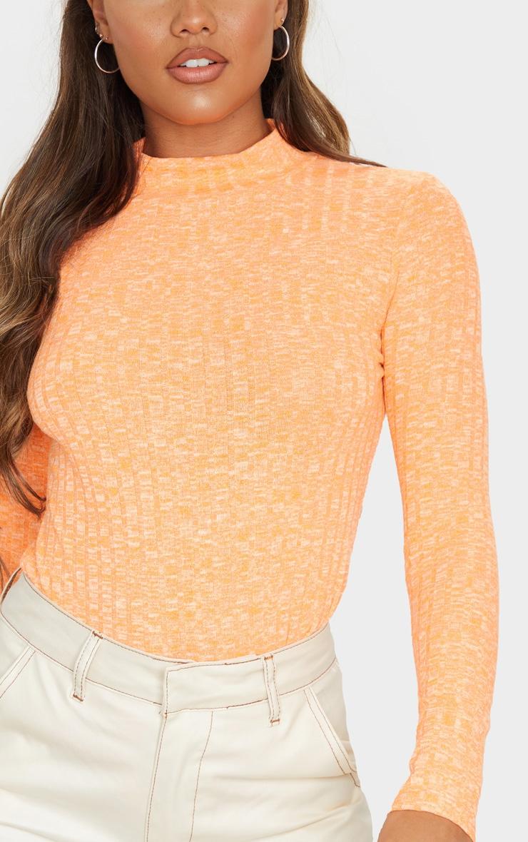Orange High Neck Long Sleeve Top 5