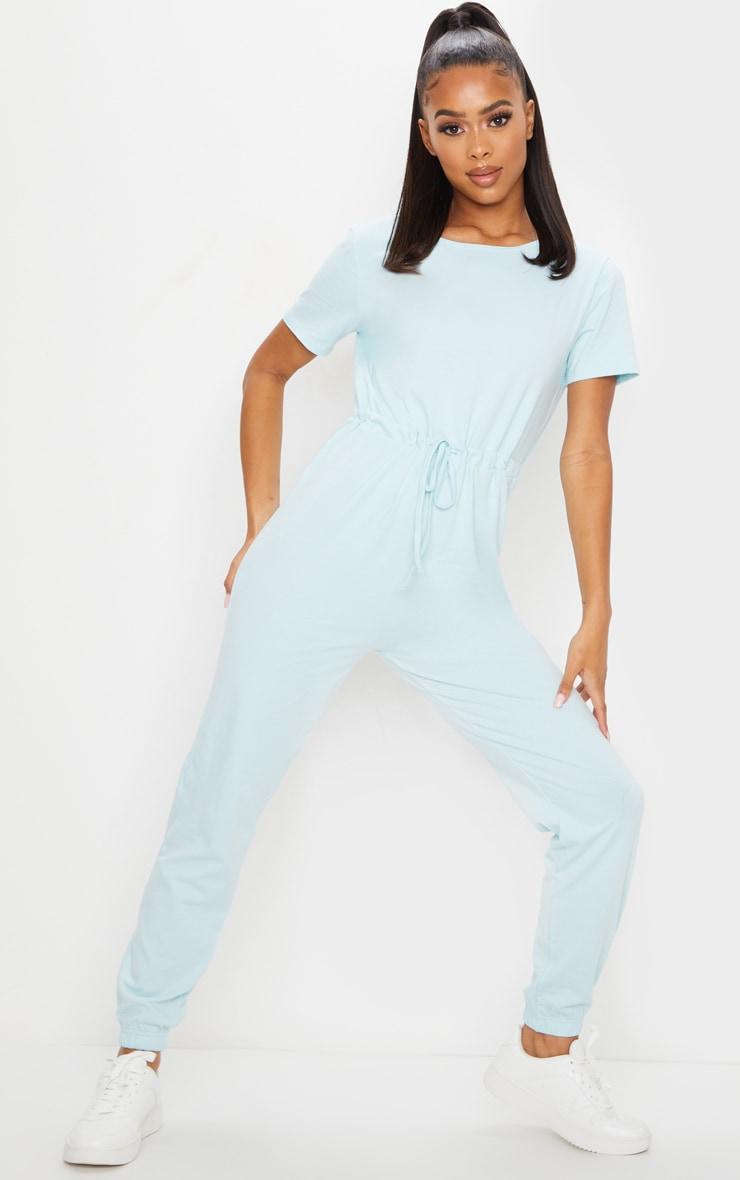 Pastel Blue Cotton Elastane Short Sleeve Jumpsuit 1
