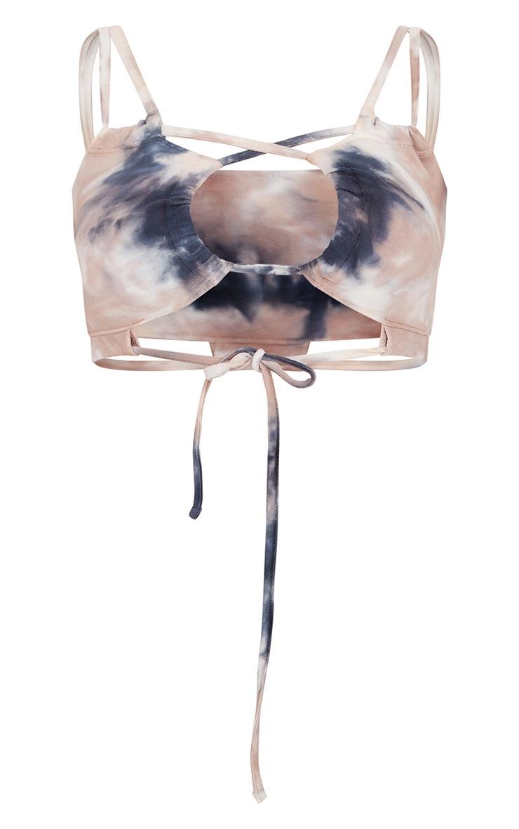 Bralette gris pierre imprimé tie & dye effet froncé à lanières 5