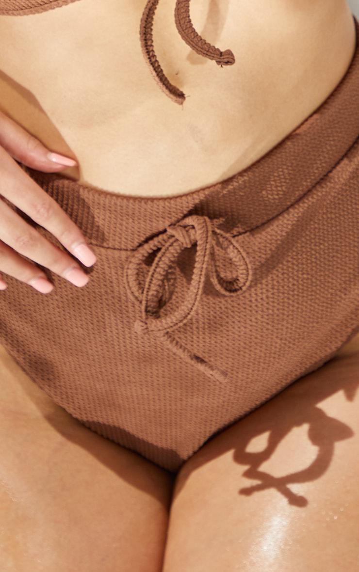 Plus Chocolate Crinkle Tie Waist Bikini Bottoms 4