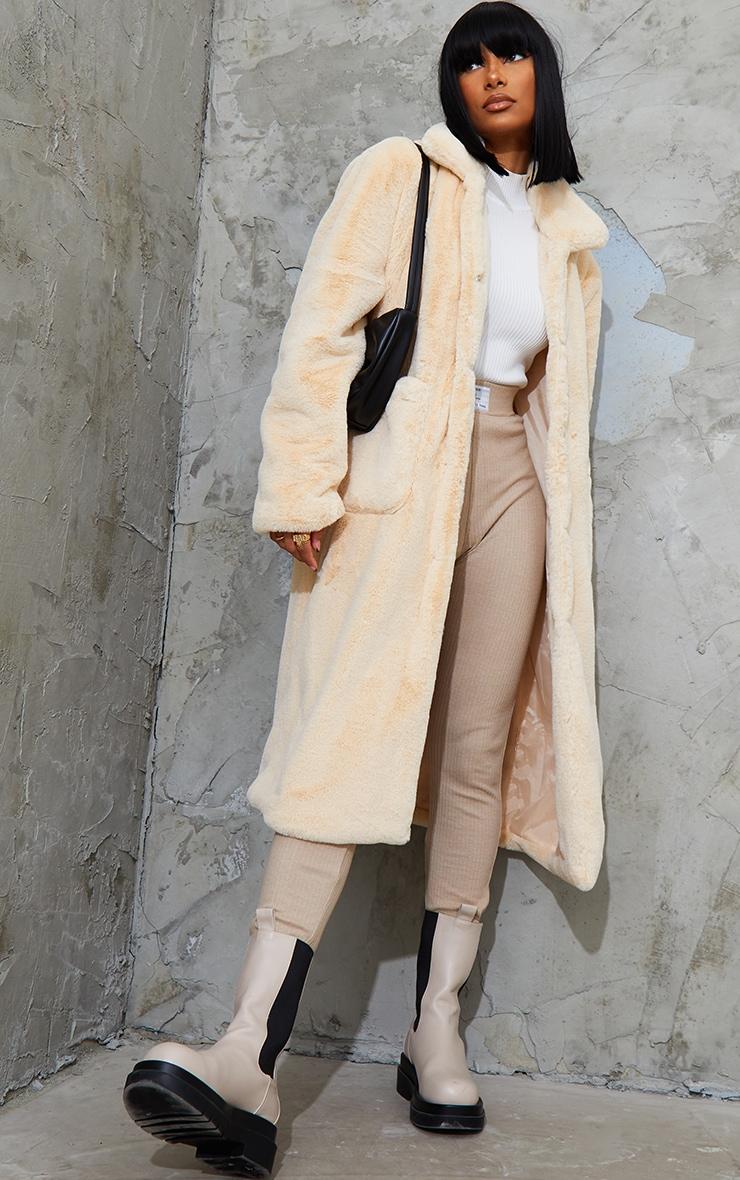 Cream Soft Faux Fur Maxi Pu Belted Midi Coat 1